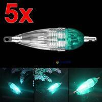 5pcs MINI LED Deep Drop Underwater Fishing Squid Lure Lights Green Flashing MT