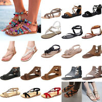Womens Gladiator Sandals Shoes Thong Flops T Strap Flip Flat Size Strappy Toe