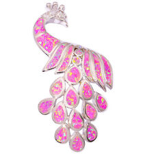 """Peacock !Pink Fire Opal & Zircon Women Jewelry Gems Silver Pendant 2 1/4"""" OD4532"""
