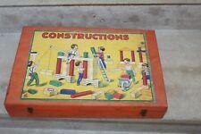 ancienne boite de jeux de construction en bois