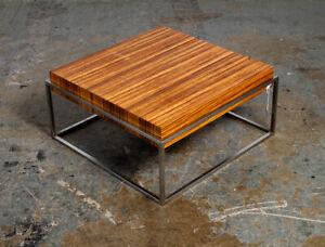 Mid Century Danish Modern End Table Side Square Rosewood Metal Chrome Denmark NM