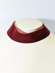 Silver Tone Burgundy Red Velvet Wide Choker Necklace 15.5 Inches