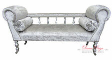 Gorgeous Crushed Silver Velvet Edwardian Style Rail Chaise Longue Sofa