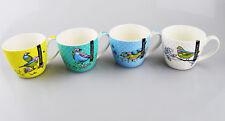 New Bone China Mugs Set of 4 Bird Design Tea Coffee Home Kitchen Office Cups