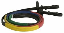 Showman Multi-Colored English Training Reins With Rubber Grip & Leather Ends!