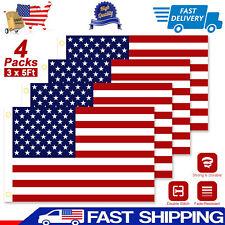 New listing 4Pcs 3x5 Ft American Flag U.S.A U.S. United States Stripes Stars Brass Grommets