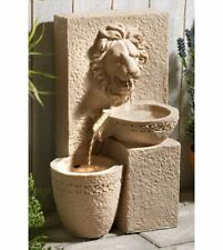 Gardenwize Garden Outdoors Solar Powered Lion Head Stone Water Feature Fountain