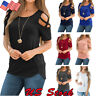 USA Womens Summer Short Sleeve Strappy Cold Shoulder Tops Blouse Ladies T-Shirt