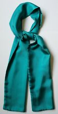 """Pure silk scarf solid teal green 61"""" x 8.5"""" Hand made"""