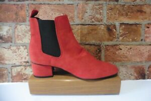 TU RED FAUX SUEDE ANKLE CHELSEA BOOTS PULL ON SIZE 7 NEW £22