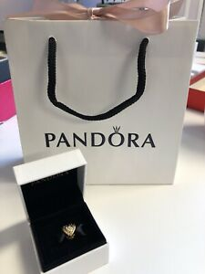 Genuine Pandora Shine Logo Heart Charm. 767375CZ, 18k Gold Plated S925 ALE
