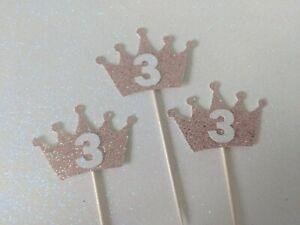 12 third Birthday Crown 3 Cupcake Toppers Pink third birthday number three girl