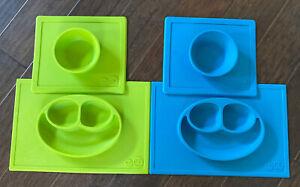 EZPZ Lot Of 4, 2 Happy Mat Plates, 2 Happy Bowl Placemats. Blue Green