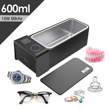 600ml Digital 15W Ultrasonic Cleaner Stainless Steel Tan Bath Jewelry Glasses