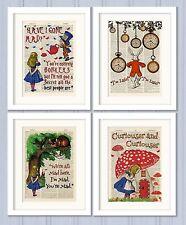 Set of 4 Alice in Wonderland Antique Book page Art Prints A4-Nursery Set2 Orange