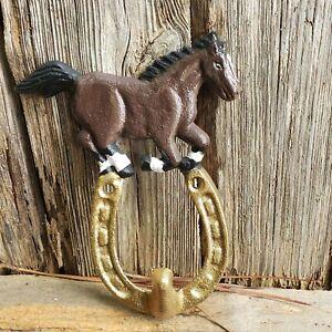 Cast Iron Rustic Ranch RUNNING HORSE Coat Key Cap Hook Rack Towel  Horse Shoe