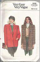 Vogue Sewing Pattern 8426,  Vintage Unlined Jacket, Size 12 - 16, Uncut