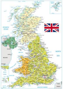 UK Map Great Britain Kingdom Borders A2 Poster Office Print 59cm x 42cm BLPA2P25