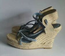 7 for all Mankind sky blue suede raffia braided strappy espadrille wedge sandals