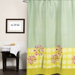 """Polyester Fabric Shower Curtain Green, Yellow 70""""x72"""" Serenity Floral Print"""