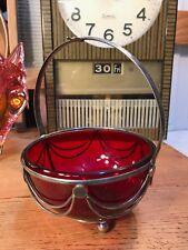 Antique Art Nouveau Late 1800s English Ruby Glass Sugar Bowl Silver Plate Basket