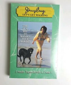 Jenny Craig Let's Get Walking, 2 Audio Tapes Levels 1 2 3, Sealed Weight Loss