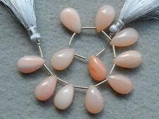 Natural Pink Opal Smooth Pear Briolette Semi Precious Gemstone Beads 007