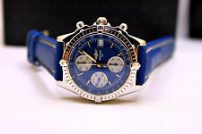 MEN'S BREITLING CHRONOMAT AUTOMATIC WATCH ~ BLUE SPIDER HOUSE DIAL ~BOX & PAPERS
