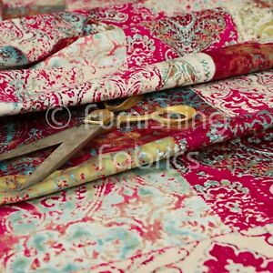Soft Printed Velvet Patchwork Pink Damask Traditional Pattern Upholstery Fabric
