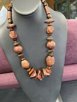 Vintage Bohemian Multi Color  Exotic Wooden Beaded Boho Statement Necklace 22""