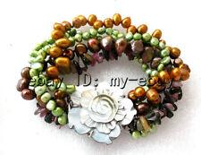 "5Strands Brown Coffee&Green Freshwater Pearl&Tourmaline Bracelet Shell Flower 8"""
