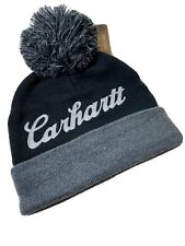 Carhartt Chainstitch Beanie | Embroidered Logo Black and Gray with Cuff and Pom