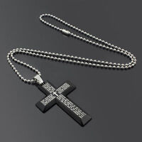 Xmas Gift Unisex's Men Stainless Steel Cross Pendant Black Silver Necklace USA