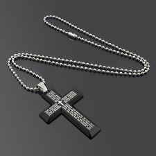 Gift Unisex's Men Stainless Steel Cross Pendant Black Silver Necklace USA