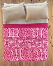 Handmade Reversible Royal Fuchsia Indian Ikat Kantha Quilt Bedspread