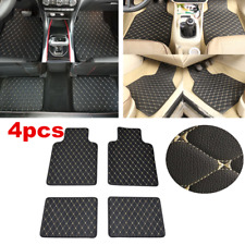 4pc Universal PU Leather Car Floor Mats Front & Rear Carpet Pad Black/Beige