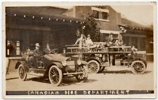 Real Photo Postcard Canadian Fire Department and Trucks~107559