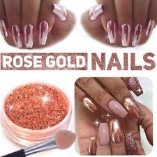 ROSE GOLD Polish Powder Dust Mermaid Mirror Chrome Effect Pigment Nail Art+Brush