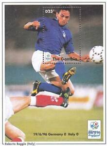 GAMBIA 1996 FOOTBALL EURO CUP/ROBERTO BAGGIO (ITALY) S/S MNH SPORTS