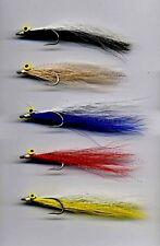 Salt Water Flies: Clouser Minnows x 5  size 2 Stainless Hooks (code 358)