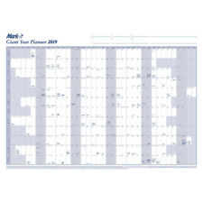 2019 Extra Large Giant Sized Dry Wipe Wall Year Planner Laminated White/Blu 19YP
