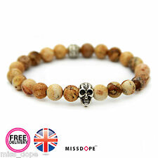 NEW SILVER SKULL JASPER STONE BEAD BRACELET WOMENS MENS NATURAL BROWN BANGLE UK