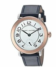 Marc Jacobs Women's Riley 2 Tone and Navy Blue Leather Watch 36mm MJ1602 NEW!
