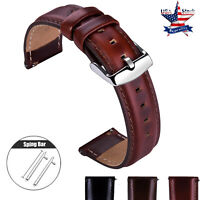 18 20 22mm Quick Release Genuine Leather Watch Band Wrist Men's Eco-Drive Strap