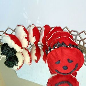 Worm Handmade Stuffed Toy Doll Snap Together Soft Happy Face Red White #M1