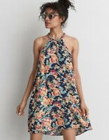 NWT American Eagle AEO Braided Back Floral Shift Halter Dress Size Small S