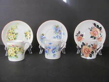 ROYAL GRAFTON FLORAL DEMITASSE 3 CUPS & 3 SAUCERS - MADE IN ENGLAND