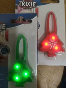 Trixie Green Or Red Christmas Tree Flashing / Continuous Dog Collars Night Light