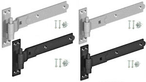 Hook and Band Hinges Heavy Duty Gate Shed Stable Door Galvanised or Black