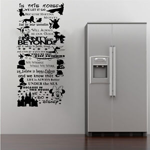 Disney In This House We Do Quote Rules Mural Wall Art Stickers Silhouette Decals